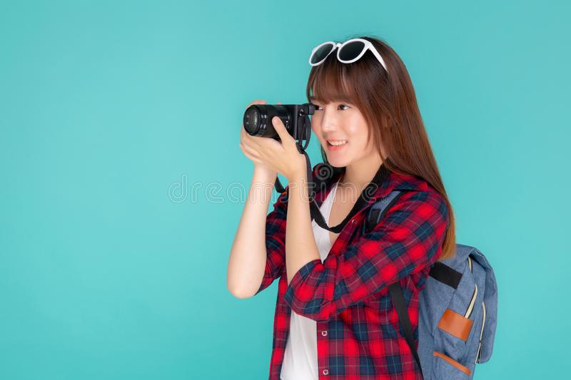 Beautiful young asian woman smiling is journalist photographer wear fashion travel summer royalty free stock photo