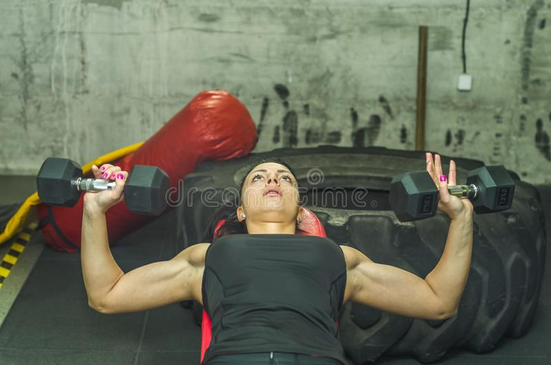 Beautiful young and attractive girl chest muscles worm up workout with two light dumbbell weights holding in her hands on the benc royalty free stock photography