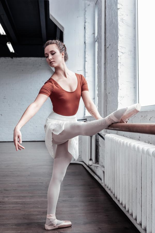 Beautiful young ballerina working on her movements royalty free stock photos