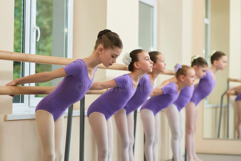 Beautiful young ballerinas ballet workout. royalty free stock photo
