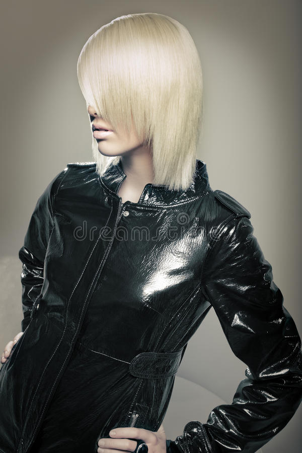 Beautiful young blond fashion model stock image