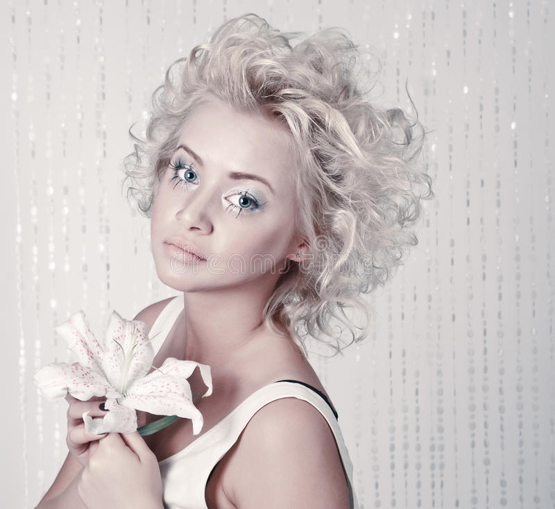 Beautiful young blond female stock images