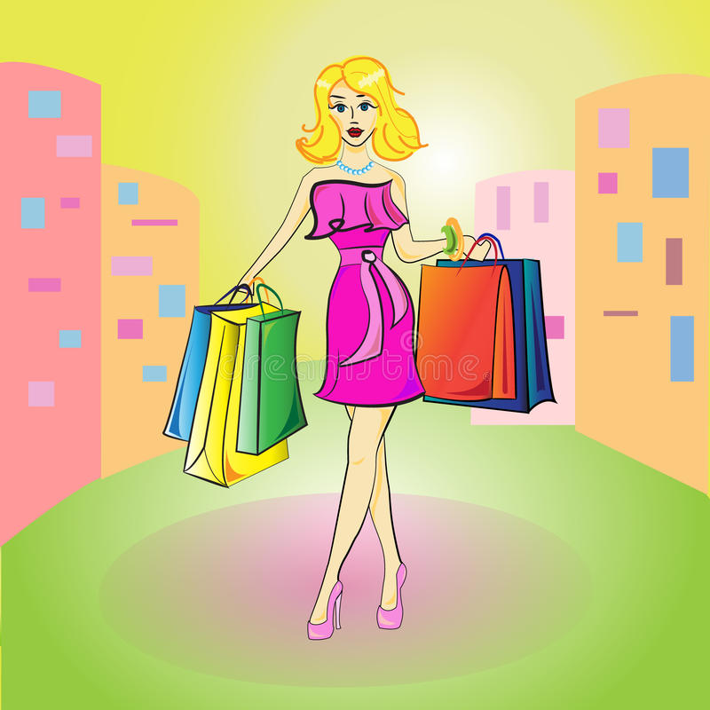 Beautiful young blond woman goes to the store stock photo