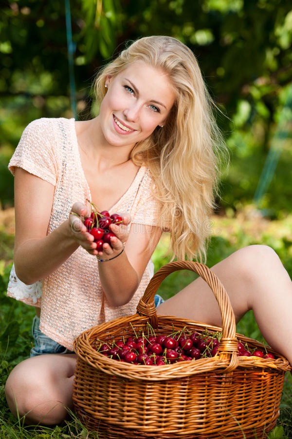 Beautiful young blond woman harvesting cherries on a hot spring. Sunny day in cherry plantation stock photo