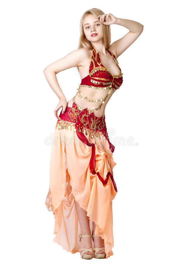 Download Beautiful Young Blonde, Arab Dance Over White Stock Photo - Image: 25244202