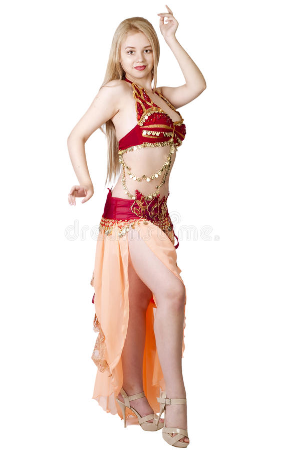 Beautiful young blonde, Arab Dance over white royalty free stock images