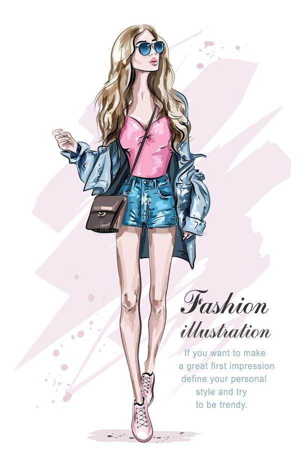 Beautiful young blonde hair woman with bag. Hand drawn fashion girl. Fashion model posing. Sketch. Vector illustration vector illustration