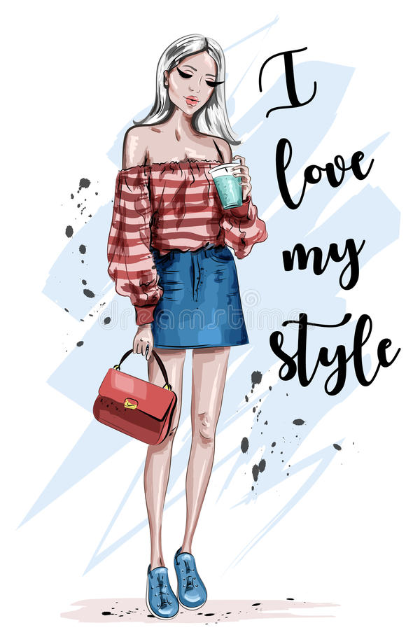 Beautiful young blonde hair woman. Stylish girl in fashion clothes. Hand drawn fashion woman. Sketch. Vector illustration stock illustration