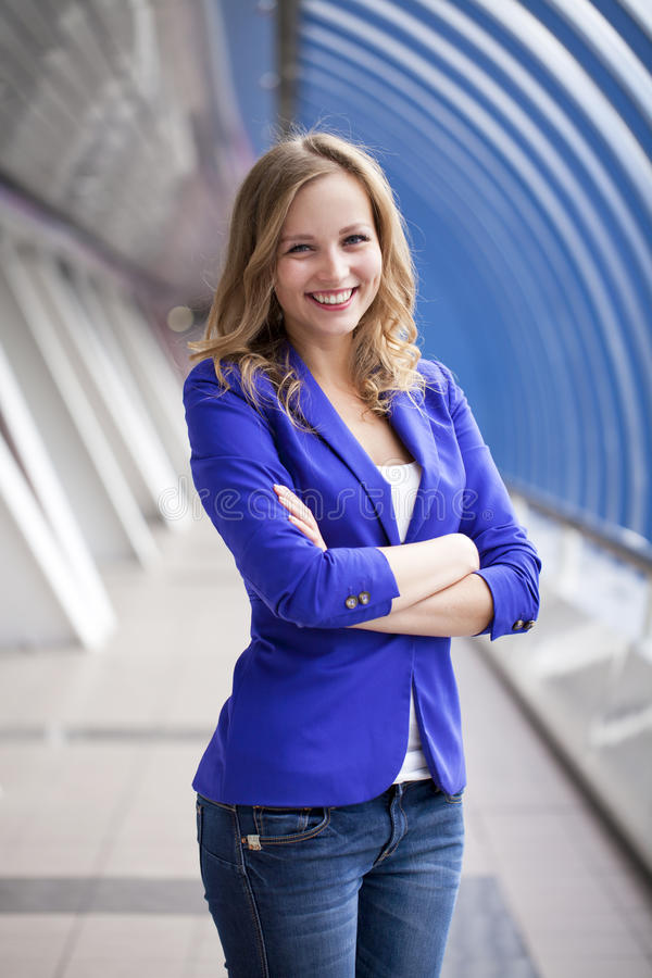 Free Beautiful Young Blonde In A Blue Jacket Royalty Free Stock Images - 45888489
