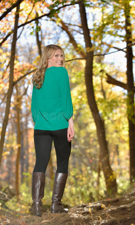 Beautiful Young Blonde Woman Autumn Stock Photo Image
