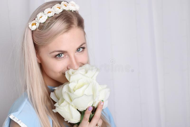 Beautiful young blonde woman with clean skin stock photos