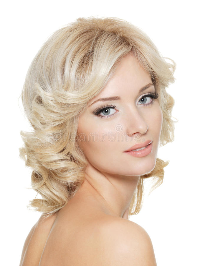 Beautiful young blonde woman face royalty free stock photo