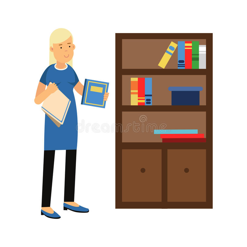 Beautiful young blonde woman housewife wiping dust from a bookcase, home cleaning and homework Illustration stock illustration