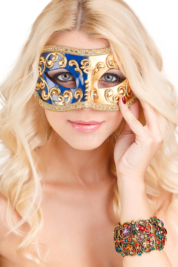 Download Beautiful Young Blonde Woman In A Mysterious Venetian Mask. Stock Image - Image: 37989903