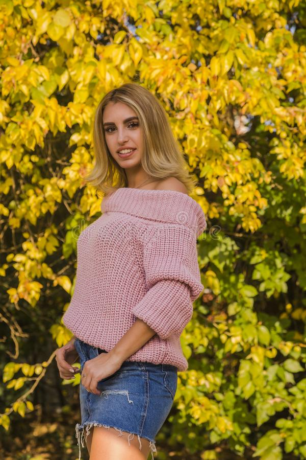 Beautiful young blonde woman in pink sweater posing in park with yellow leaves at background, royalty free stock image