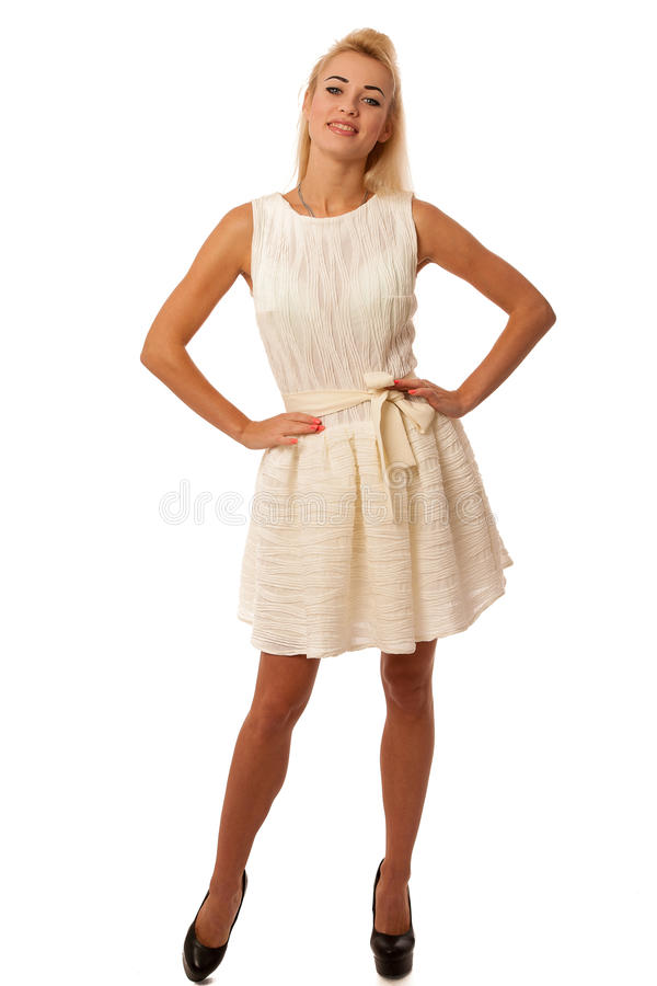 Beautiful young blonde woman posing isolated over white background stock images