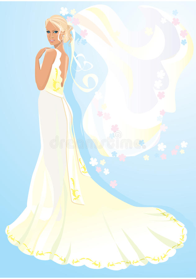 Download Beautiful young bride stock vector. Image of blank, beautiful - 21996848