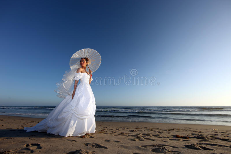 Beautiful Young Bride on her Wedding Day royalty free stock photo