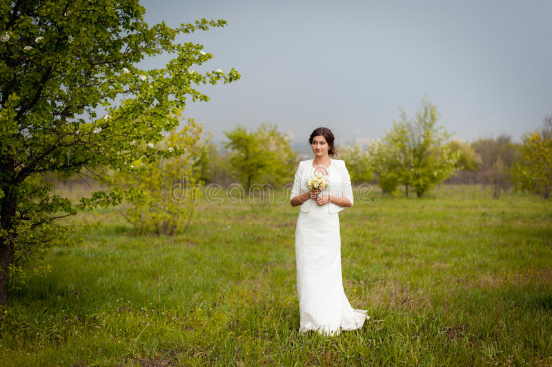 Beautiful young bride in luxury wedding dress stock images