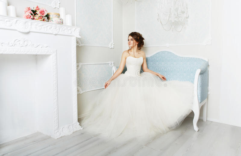 Beautiful young bride in vintage wedding dress royalty free stock image