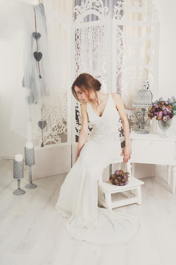 Beautiful young bride in vintage wedding dress royalty free stock photos
