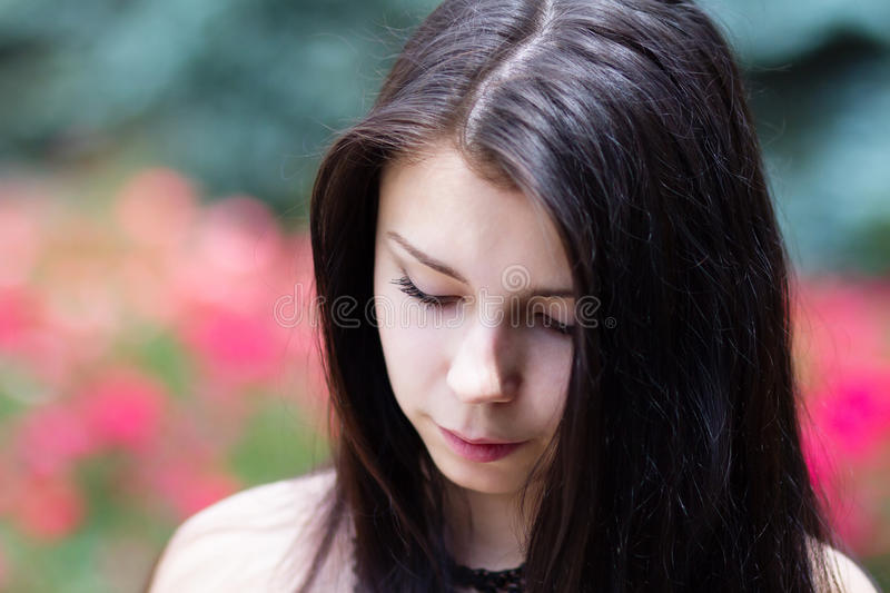 Beautiful young brunette girl royalty free stock photo