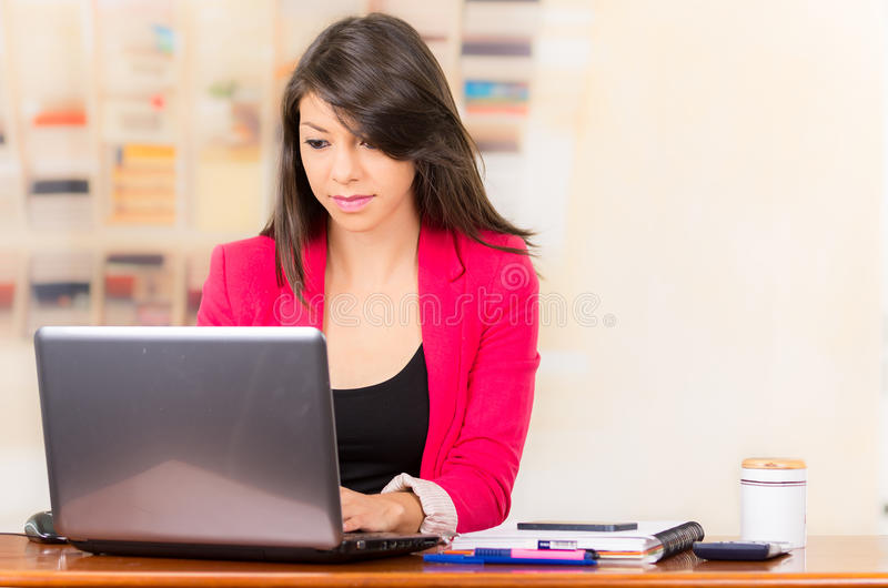 Beautiful young brunette girl working with laptop royalty free stock images
