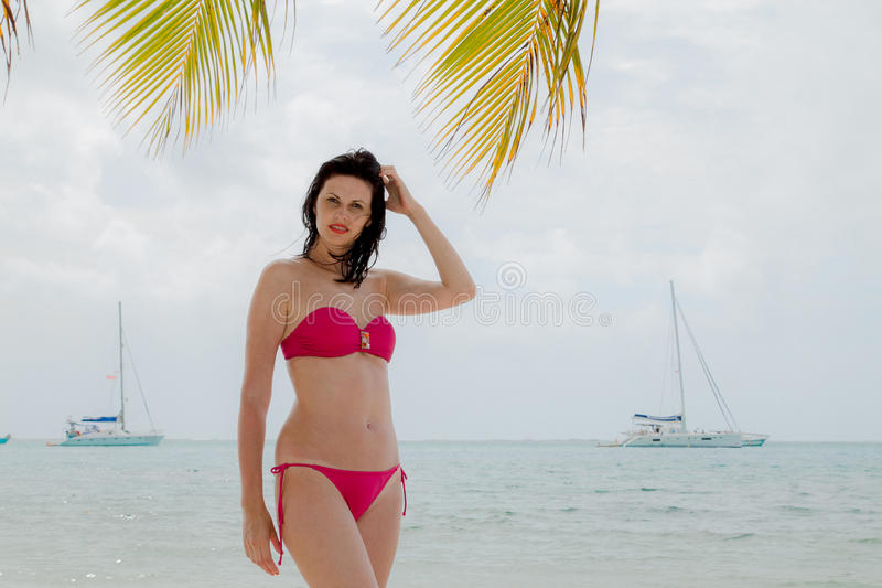 Beautiful young brunette. Gorgeous young woman in French Polynesia stock photography