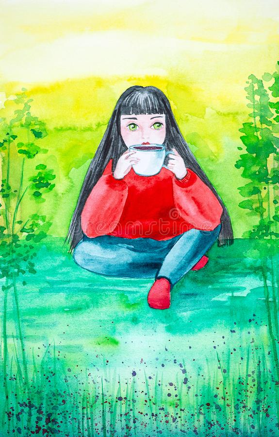 A beautiful young brunette with long hair, in a red sweater and blue jeans sits on the green grass in the forest. He holds a Cup. Of coffee and drinks it stock illustration