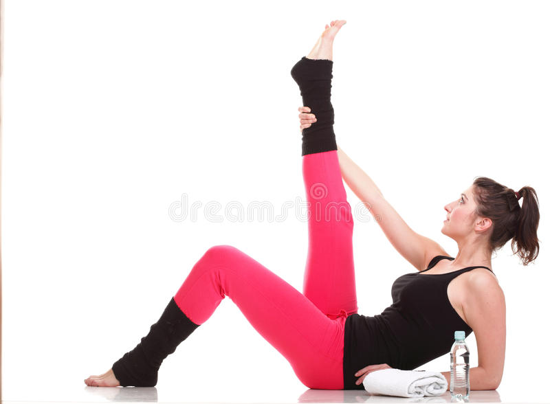 Beautiful Young Brunette Woman Stretching Muscles Arms Isolated Royalty Free Stock Photos