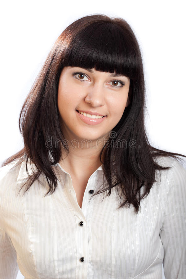 Beautiful Young Brunette Woman on White. stock images