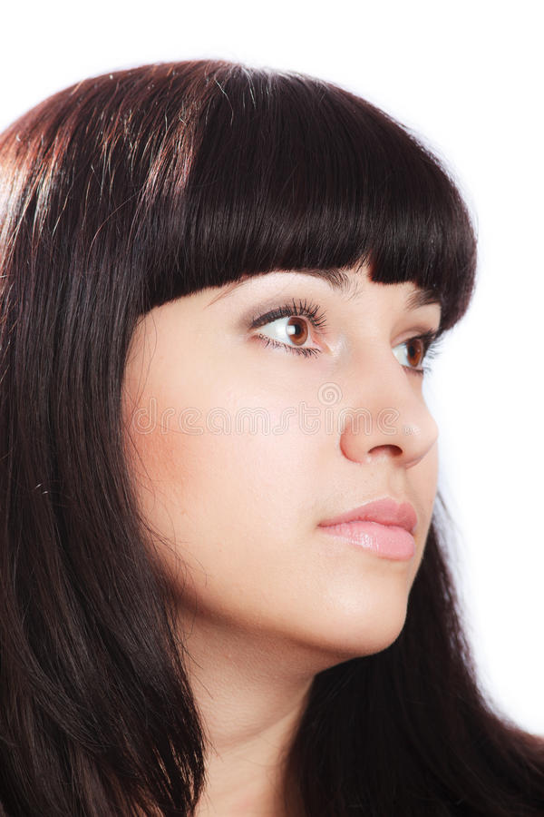 Beautiful Young Brunette Woman on White. royalty free stock photos