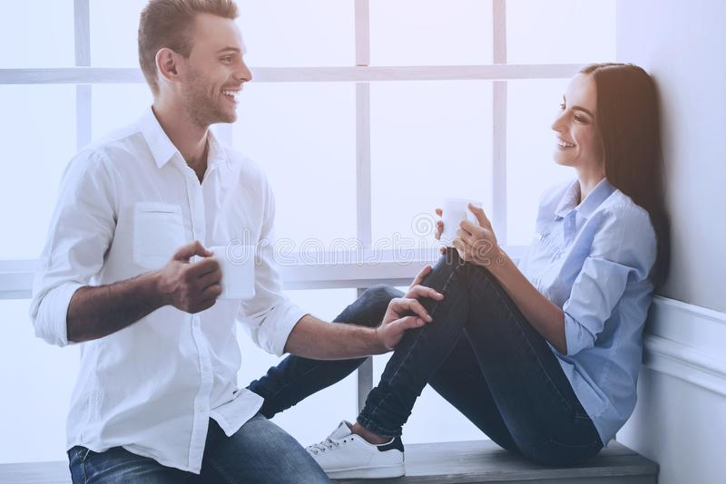 Beautiful Young Business Couple in Classic Shirts stock photography