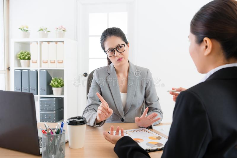 Sales woman introducing company new product stock image