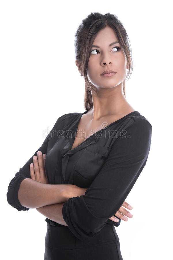 Beautiful young business woman in a black dress isolated royalty free stock photography