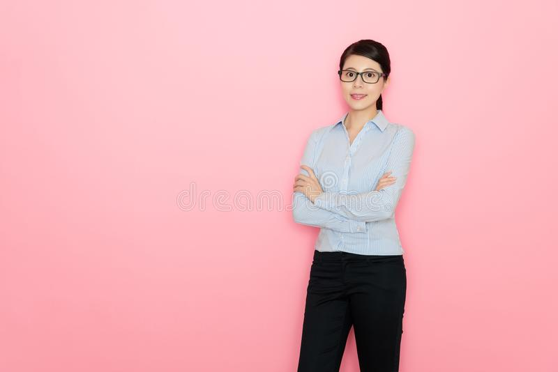 Beautiful young business woman hands crossed stock images