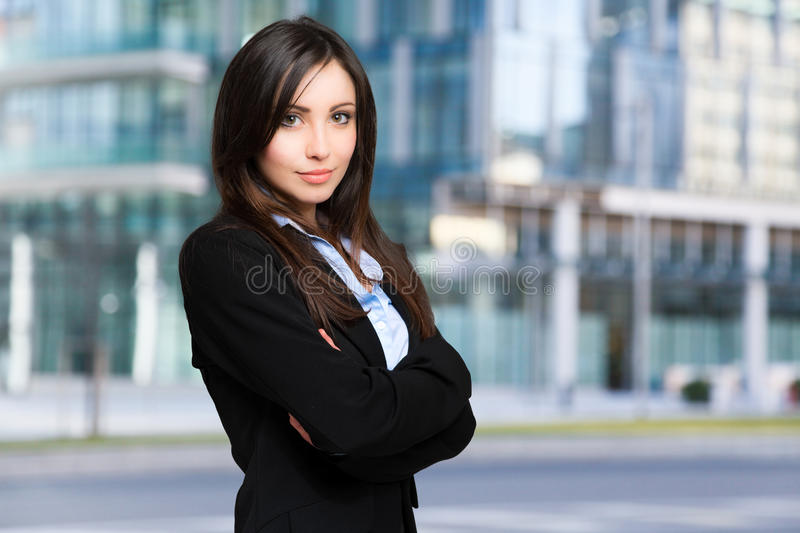 Beautiful young business woman outdoor stock image