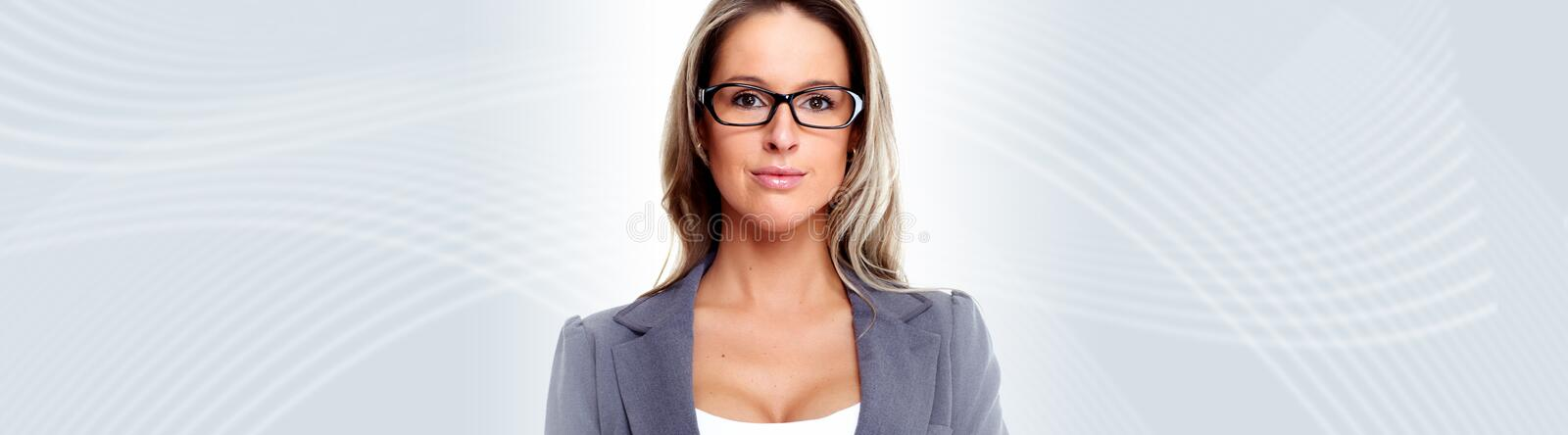 Young business woman. Beautiful young business woman over abstract background stock images