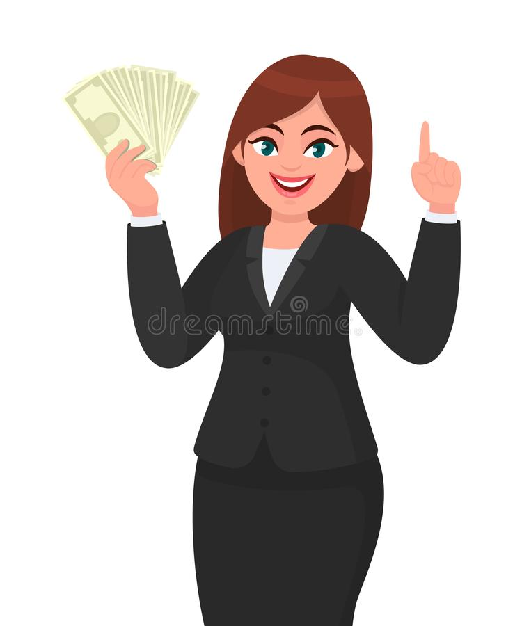 Beautiful young business woman showing, holding bunch of money, cash, dollar, currency, banknotes in hand and pointing finger up. royalty free illustration