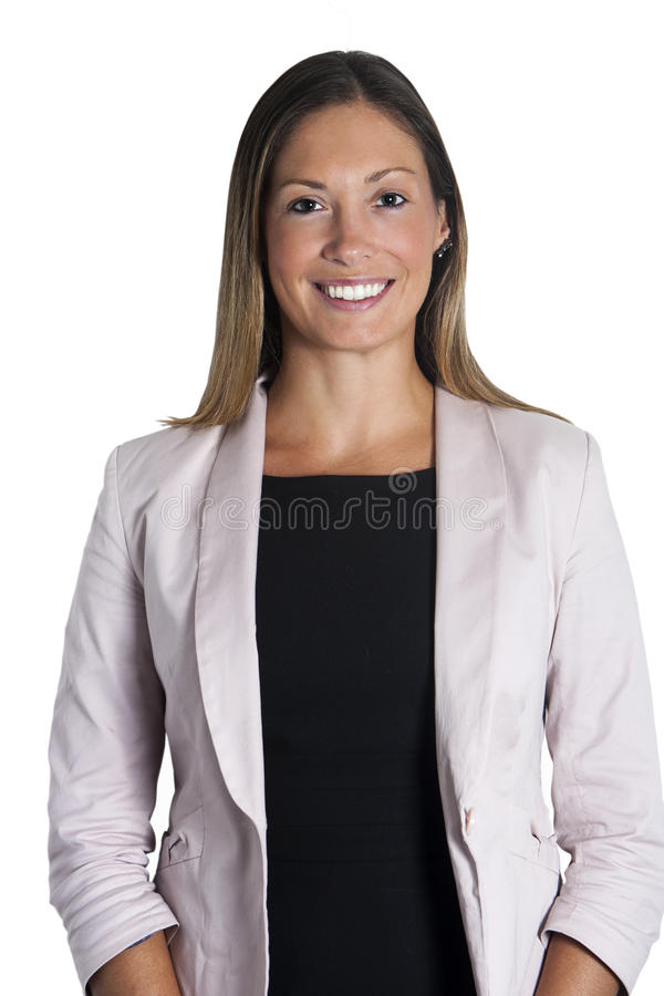 Beautiful young business woman smiling with straight hair on white royalty free stock photography