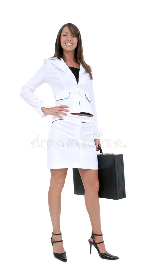 Beautiful Young Business Woman White On White. Beautiful Young Business Woman in white suit with briefcase. Shot in studio over white with the Canon 20D stock photo