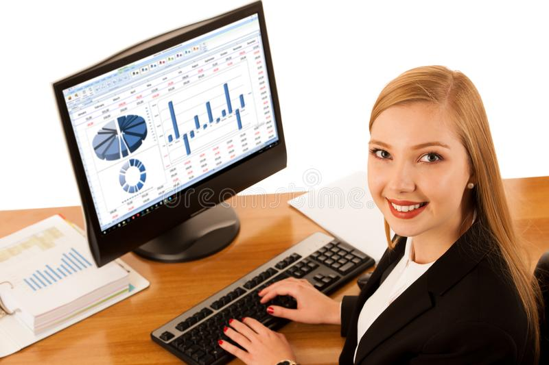 Beautiful young business woman works in office with big copy spa royalty free stock photos