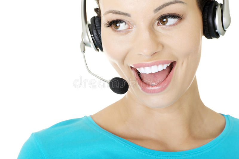Download Beautiful Young Call-center Assistant Smiling Stock Image - Image: 27898535