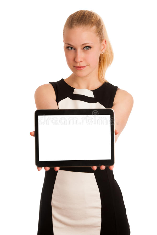 Beautiful young caucasian business woman with blond hair working royalty free stock photo