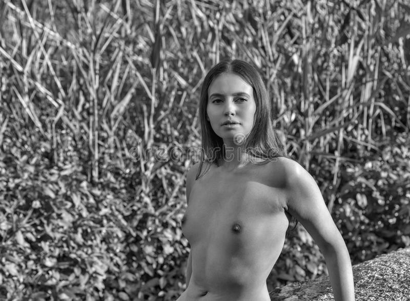 Vintage nature nudes playing a flute