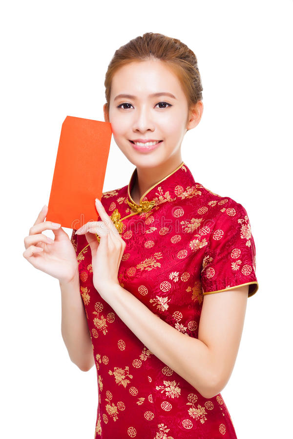Free Beautiful Young Chinese Woman Holding Red Bag Stock Photos - 46227363