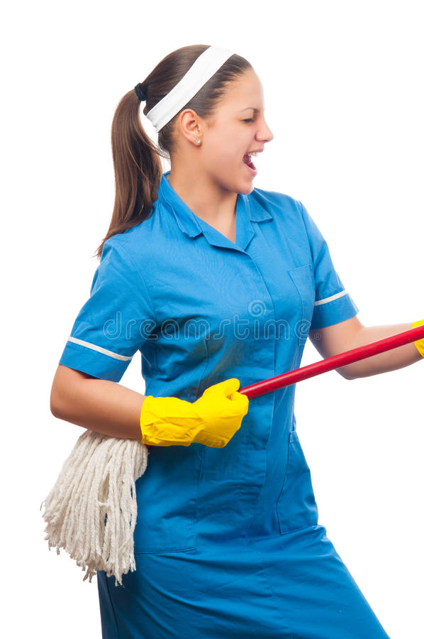 Download Beautiful Young Cleaning Lady Singing Stock Photo - Image: 26334840