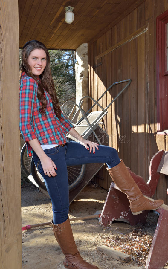 Beautiful Young Country Girl On Farm Outdoors Stock Photo