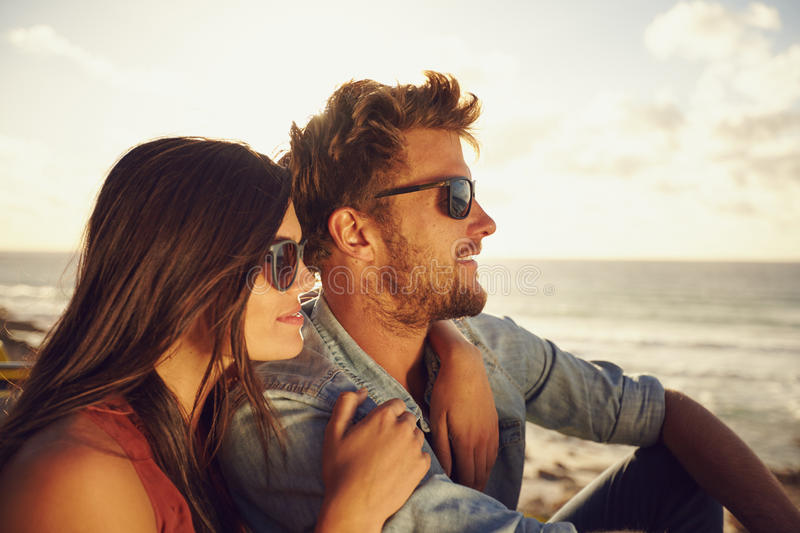 Beautiful young couple enjoying the view royalty free stock images