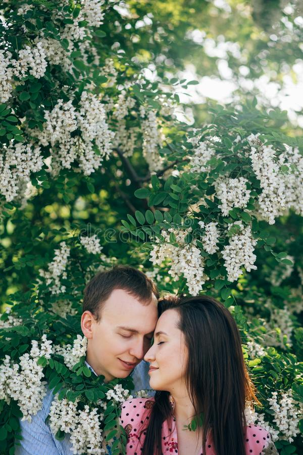 Beautiful young couple gently hugging in green leaves and white flowers in spring garden in sunshine. Happy family embracing at stock image